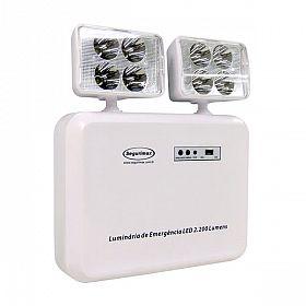 Iluminação emergência Segurimax 2200 lúmens 2 faróis