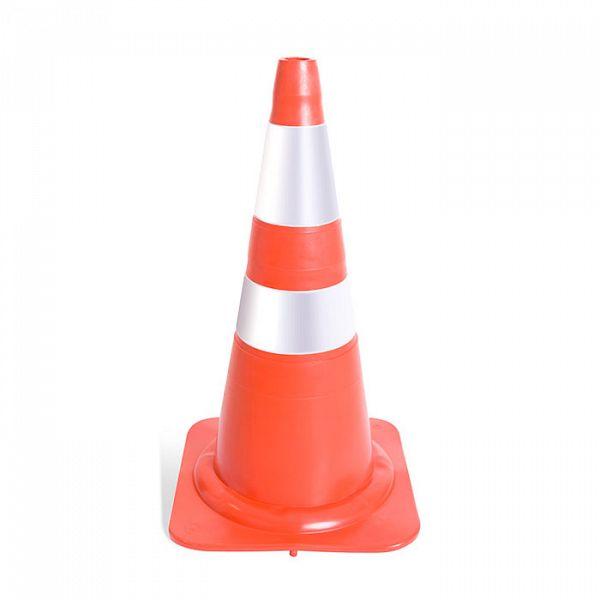 Cone (PADRÃO NORMA NBR) refletivo flexível 75cm lar/bco