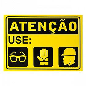 Placa atenção use  óculos, luva, capacete 35x25cm PVC Rígido 32c0dfded0