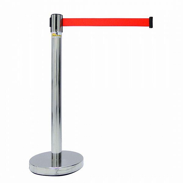 Pedestal organizador de fila cromado com fita retrátil vermelha