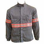 Camisa eletricista NR10 risco 2 cinza claro classe 1 e 2 com refletivo laranja
