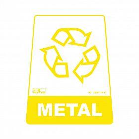 Adesivo para lixeira com símbolo reciclável (metal) 12,6 x 19,5 x 15,5cm