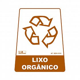 Adesivo para lixeira com símbolo reciclável (orgânico) 12,6 x 19,5 x 15,5cm