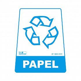Adesivo para lixeira com símbolo reciclável (papel) 12,6 x 19,5 x 15,5cm