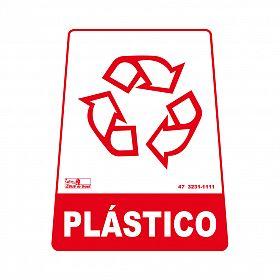 Adesivo para lixeira com símbolo reciclável (plástico) 12,6 x 19,5 x 15,5cm