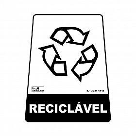 Adesivo para lixeira com símbolo reciclável (reciclável) 12,6 x 19,5 x 15,5cm