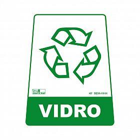 Adesivo para lixeira com símbolo reciclável (vidro) 12,6 x 19,5 x 15,5cm