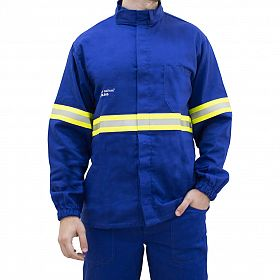 Camisa eletricista NR10 risco 2 azul royal classe 1 e 2 com refletivo verde e prata