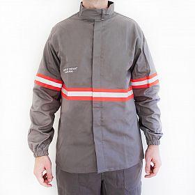Camisa eletricista NR10 risco 2 cinza clara classe 1 e 2 com refletivo laranja