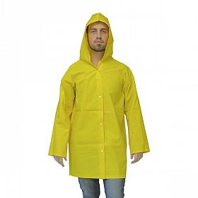 Capa chuva PVC forrada com manga e capuz amarela -