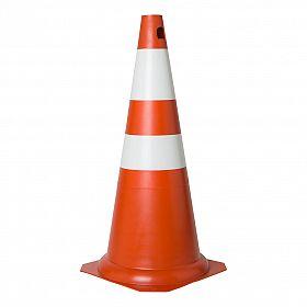 Cone 75cm laranja e branco PVC