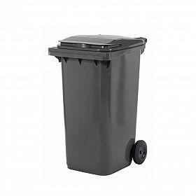 Lixeira contentor de lixo com rodas 240 litros modelo europeu cinza