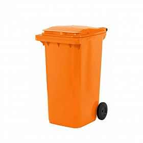 Lixeira contentor de lixo com rodas 240 litros modelo europeu laranja