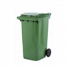 Lixeira contentor de lixo com rodas 240 litros modelo europeu verde