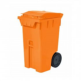 Lixeira com rodas 240L / laranja - Modelo Americano