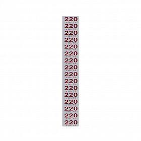 Placa 220 volts em alumínio 3,5 x 1,5cm