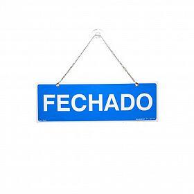 Placa aberto/fechado com corrente e ventosa de PVC 30 x 10cm