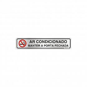 Placa ar condicionado mantenha a porta fechada em alumínio 25 x 5cm