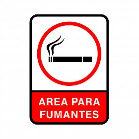 Placa área para fumantes de PVC 35 x 25cm