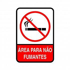 Placa área reservada para não fumantes de PVC 35 x 25cm
