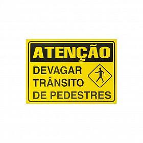 Placa atenção devagar trânsito de pedestres de PVC 35 x 25cm