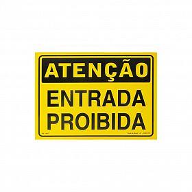 Placa atenção entrada proibida de PVC 35 x 25cm
