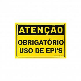 Placa atenção obrigatório uso de EPIS de PVC 35 x 25cm