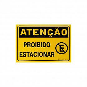 Placa atenção proibido estacionar de PVC 35 x 25cm