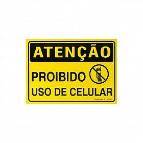 Placa atenção proibido uso de celular de PVC 35 x 25cm