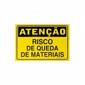 Placa atenção risco de queda de materiais de PVC 35 x 25cm