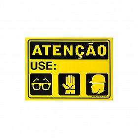 Placa atenção use óculos, luva, capacete de PVC 35 x 25cm