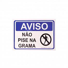 Placa aviso não pise na grama de PVC 24 x 18cm