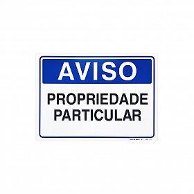 Placa aviso propriedade particular de PVC 35 x 25cm