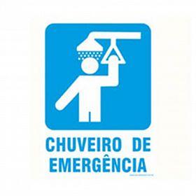 Placa chuveiro de emergência de PVC 23,5 x 32,5cm