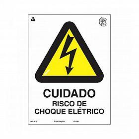 Placa cuidado risco choque elétrico de PVC 15 x 20cm