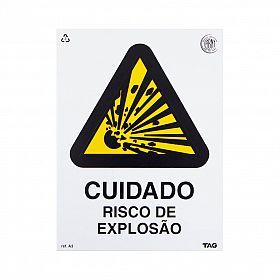 Placa cuidado risco de explosão de PVC 15 x 20 cm