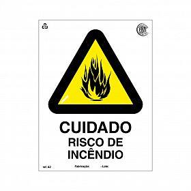 Placa cuidado risco de incêndio de PVC 15 x 20cm