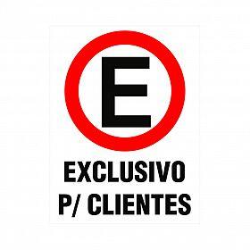 Placa estacionamento exclusivo para clientes de PVC 35 x 25cm