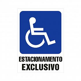 Placa estacionamento exclusivo para deficiente de PVC 50 x 70 cm