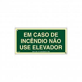 Placa fotoluminescente em caso de incêndio não use o elevador de PVC 24 x 12cm