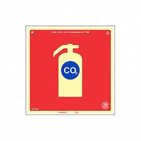 Placa fotoluminescente extintor CO² de PVC