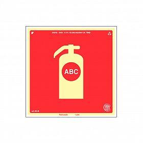 Placa fotoluminescente extintor pó químico ABC de PVC 15 x 15cm