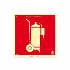 Placa fotoluminescente extintor sobre rodas de PVC 20 x 20cm