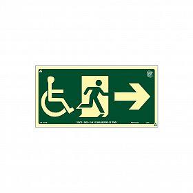 Placa fotoluminescente rota de fuga cadeirante seta para direita de PVC 30 x 15cm