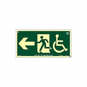 Placa fotoluminescente rota de fuga cadeirante seta para esquerda de PVC 30 x 15cm