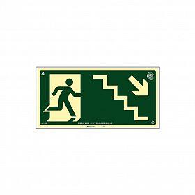 Placa fotoluminescente rota de fuga pela escada à direita seta para baixo de PVC
