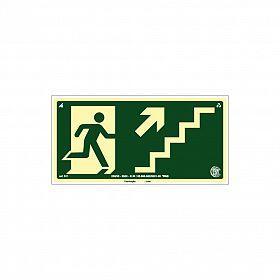 Placa fotoluminescente rota de fuga pela escada à direita seta para cima de PVC