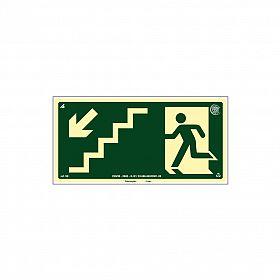 Placa fotoluminescente rota de fuga pela escada à esquerda seta para baixo de PVC