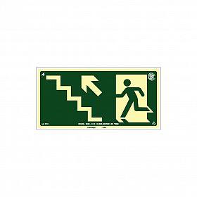 Placa fotoluminescente rota de fuga pela escada à esquerda seta para cima de PVC