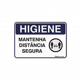Placa higiene mantenha distância segura 35x25cm PVC